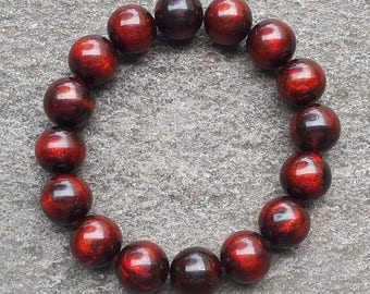 13,5 MM Genuine Indonesia Red Sea Willow Bracelet 16 Beads Black Coral