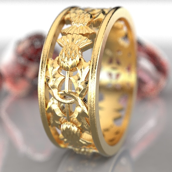 Gold Thistle Ring, 10K 14K or 18K Gold Scottish Ring, Unique Rings for Her, Botanical Jewelry, Handcrafted Rings, Platinum or Palladium 5056