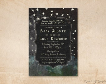 Chalkboard Night Stars - Printable Baby Shower or Birthday Invitation - 5x7 - Star Nature Camping Space Rustic - Black White Blue Green