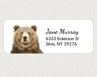 Bear Return Address Labels - Stickers - Personalized - Jungle - Animal - Teddy