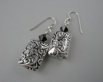 Silver Embossed and Black Earrings