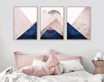 Set of 3 Downloadable Mountain Triptych Printables Print Set Blush Pink Navy Scandinavian Wall Art Decor Trending Now Bedroom Decor Digital