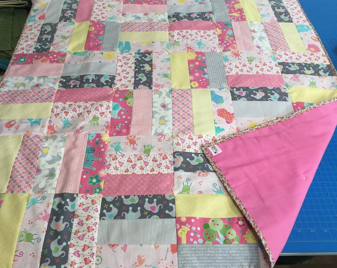 "Featured listing image: Handmade - Hand Tied ""My Little Sunshine"" Baby Quilt in Pink - Portion of Sale Goes to Charity!"