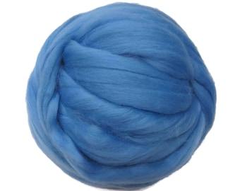 Merino / Silk Roving, Color: September - Beautiful cool Tone Mulberry Wool Silk Blend Fiber for Spinning & Felting