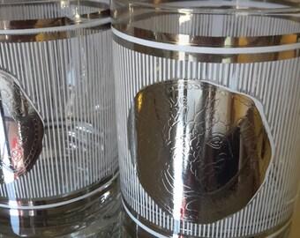 GEORGES BRIARD Mid Century Barware Rocks Liquor Glasses Set of 6 White Icicle Waterfall Mantoninvsavc Cermsarm