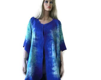 Lapis Nuno Felt and silk Poncho ,Reversible ruana ,wrap- Amazing opera top in my beloved Kimono style-Only one available