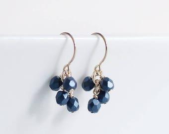 "14k goldfill earrings - ""lucky"" faceted earrings in luster blue - handmade by elephantine"
