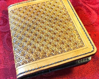 Rustic Leather Bifold Wallet with Diamond and Circle Design