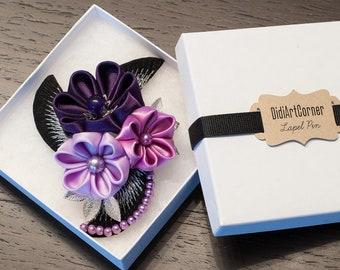 Women Brooch - Shades of Purple Flowers