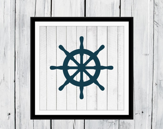 Nautical Nursery -  Beach Decor - Ships Wheel - Boating Print - Your choice of Size
