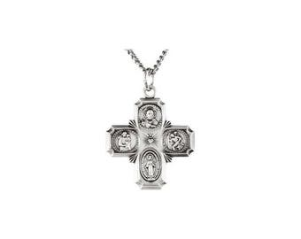 Four-Way Cross Religious Medal Necklace in Sterling Silver - Ship Next Business Day