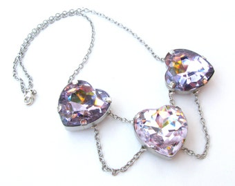 Light Rose Pink Crystal Heart and Silver Chain Peter Pan Collar Necklace
