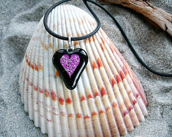 Fused Glass Pink Heart Pendant