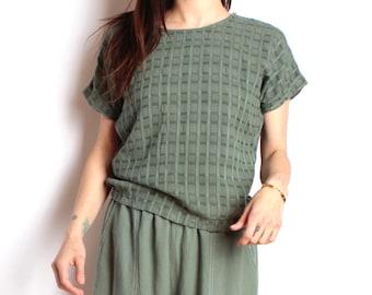 90s vintage SAGE green blue OXFORD soft SPRING boxy t shirt top