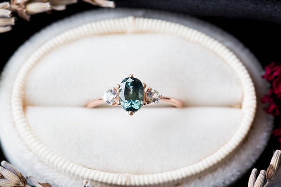 Blue green sapphire three stone 14k gold engagement ring, blue green oval engagement ring, alternative bridal, teal sapphire gold ring