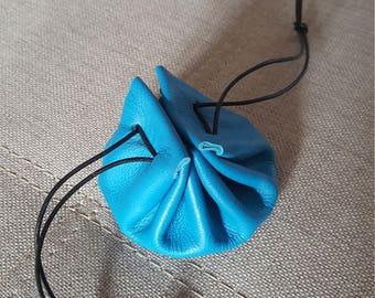 Lagoon blue granite leather purse