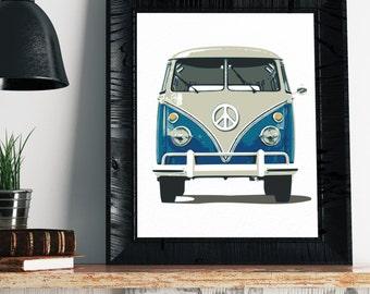 VW Bus Print - VW Bus Decor, Volkswagen Bus Art, Vintage Volkswagen Bus Print, Hippie Art, Hippie Decor, Boho Art, Hipster Art, VW Bus Art,