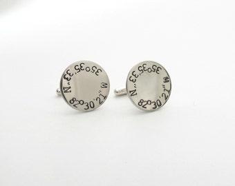 Personalized Cufflinks - Coordinate Cufflinks - Longitude and Latitude - Engrave - Mens - Dad - Father - Groom - Wedding - Anniversary