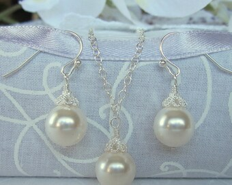 Bridal Jewelry Set, Bridal Pearl Earrings and Necklace Set, Bridal Set, White or Ivory Pearl drop Bridal Earrings, Y Necklace Bridal Jewelry