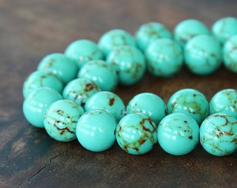 Magnesite Beads, Light Teal Green, 10mm Round - 15 inch Strand - eGR-MG001-10