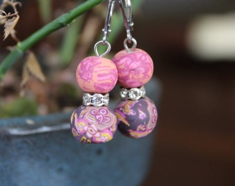 Pink and Purple Clay Earrings