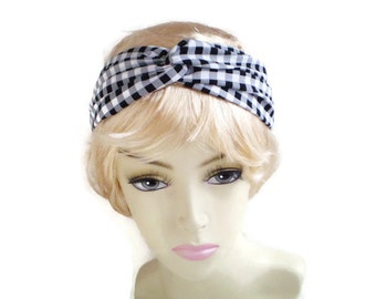 Black White Check Turban Headband, Gingham Twisted Headband, Woven Fabric Twisted Headband, Black White Twist Headband