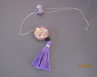 purple flower bead and tassel necklace
