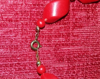 Vintage red bold bead necklace