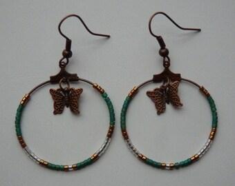 Butterfly and miyuki beads hoop earrings