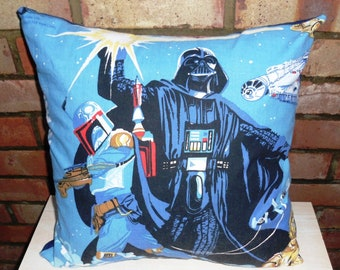 Star Wars Boba Fett Darth Vader Vintage Fabric Cushion - Empire Strikes Back - Mandalorian - handmade by Alien Couture