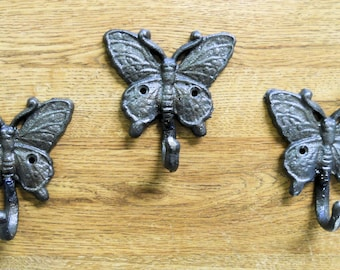 3 pc Butterfly Wall Hooks Cast Iron Natural Finish