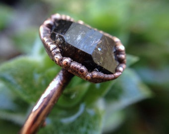 Herkimer   Herkimer Diamond Ring   Herkimer Ring   Copper Ring   Crystal Ring   Mineral Ring   Ready-To-Ship