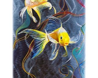Abstract Print on Aluminum. Fine Art Print, Koi Fish ART on Metal, Yellow, Blue, Green, Stainless Steal Original Artwork