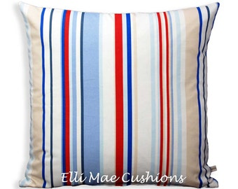 Harlequin Rush Striped Designer Fabric Neutral Red Blue White Sofa Cushion Cover