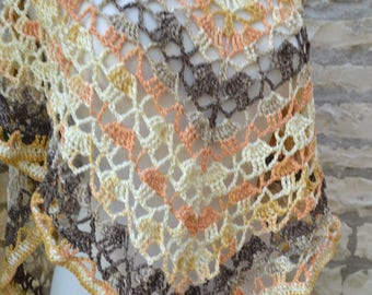 Autumn colors hand crocheted shawl