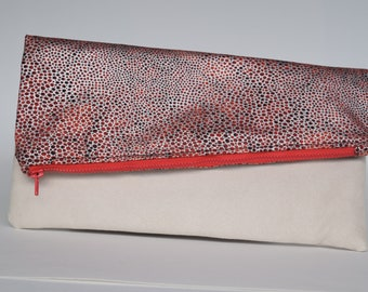 Black, Red and Silver with Faux Suede, Foldover Clutch