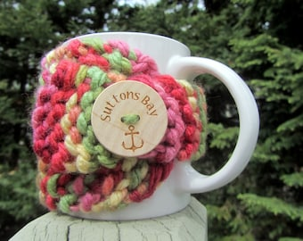 Suttons Bay Up North Michigan Coffee Cup Cozy - Perfect for Gift Giving or Keeping and Environmentally Friendly