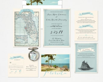 Florida Wedding Invitation and RSVP card Design fee Destination wedding invitation Beach Party Blue wedding  DEPOSIT Payment