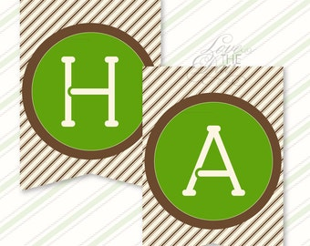 Camping Party PRINTABLE Happy Birthday Banner (INSTANT DOWNLOAD) from Love The Day