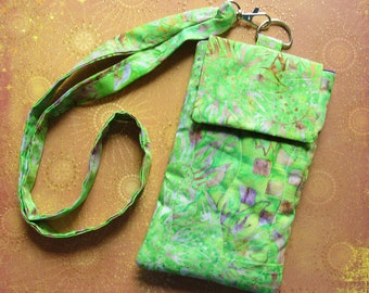 Sunflower Batik iPhone Neck Pouch Lanyard Green Earthy Cell Phone iPod