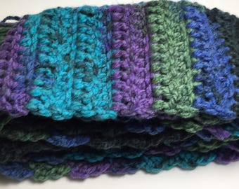 FREE SHIPPING! Handmade Crocheted Thick Fringed Scarf, Warm, Cozy, Winter, Heavyweight, All Proceeds Donated to Charity!