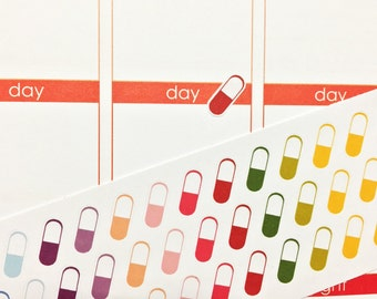 45 Colorful Pill Stickers! Perfect for your Erin Condren Life Planner, Filofax, Plum Paper, other planner, scrapbooking!