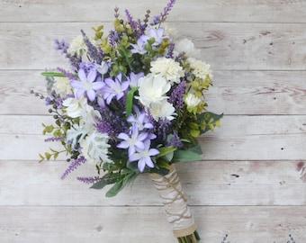 Wildflower Bouquet - Lavender Bouquet, Purple Bouquet, Fall Bouquet, Boho Bouquet, Rustic Bouquet, Silk Flowers, Artificial Lavender, Faux