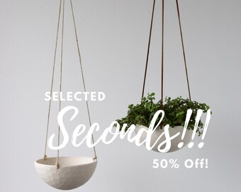 SECONDS Hanging Ceramic Porcelain Planter Medium Size, Geometric Faceted or Smooth finish, choose Hemp or Leather Cording