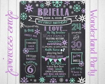 Snowflake First Birthday Chalkboard Poster - Winter 1st Birthday Chalk Board Sign - Printable Photo Prop