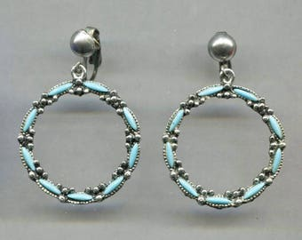 Faux TURQUOISE & Silver Tone Hoop Clip-Back Earrings