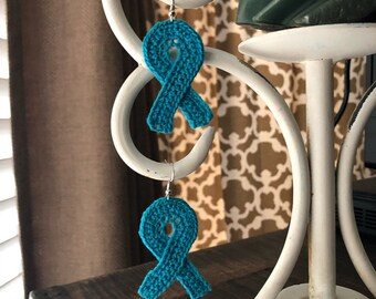 Crochet Cause Ribbon Earrings