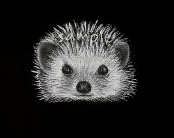 HEDGEHOG Charcoal Drawing | Woodland Animals | Chalk | Chalkboard | Print | Black White | Neutral | Minimalist | Nursery | Gift | Wall Art