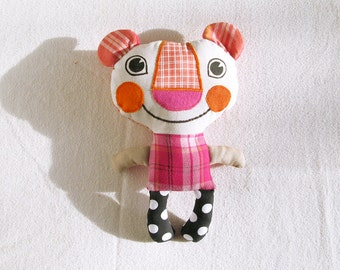 SALE Plush Bear Recycled Fabric Doll Patchwork Pink Orange