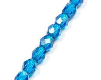 lot 50 faceted capri blue Czech glass beads
